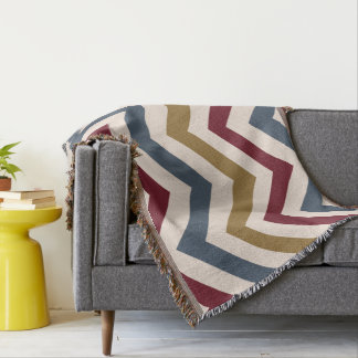Zigzag Large Pattern Gold Red & Blue on Cream Throw Blanket