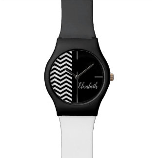 ZIGZAG Monogram chevron black white Watch