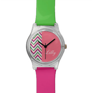 ZIGZAG monogram withchevron green purple Watch