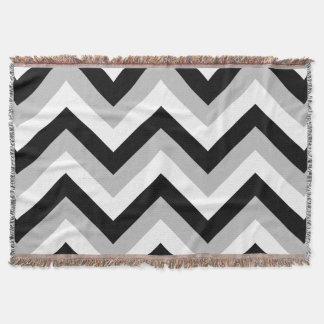 Zigzag Pattern Black Grey White Throw Blanket