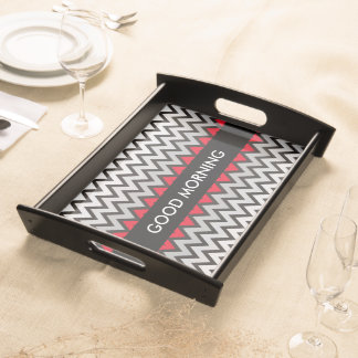 ZIGZAG pattern - black white grey + your idea Serving Tray