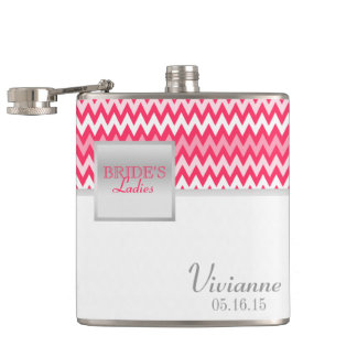 Zigzag Pattern Bridesmaid Hip Flask