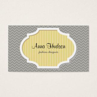 Zigzag Pattern, Chevron Pattern - Gray Business Card