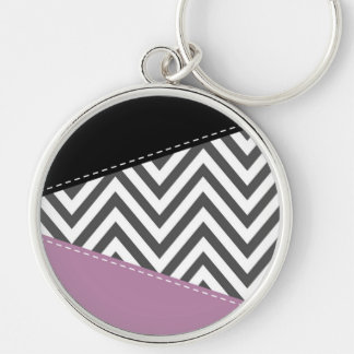 Zigzag Pattern, Chevron Pattern - Gray Purple Silver-Colored Round Keychain