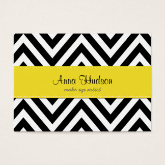 Zigzag Pattern, Chevron Pattern - White Black Business Card