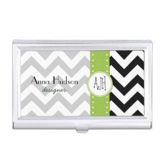 Zigzag Pattern, Chevron Pattern - White Black Business Card Holder