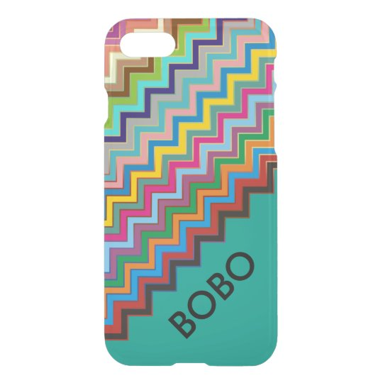 ZIGZAG pattern - coloured + your name iPhone 7 Case