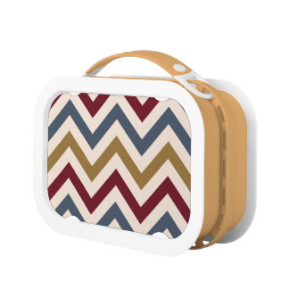 Zigzag Pattern Gold Red & Blue on Cream Lunchbox