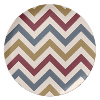 Zigzag Pattern Gold Red & Blue on Cream Plates