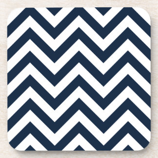 Zigzag Pattern Navy Blue & White Coaster