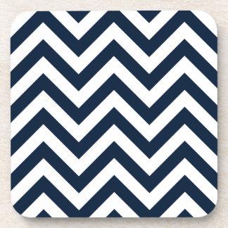 Zigzag Pattern Navy Blue & White Drink Coaster