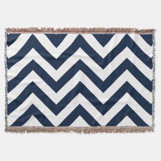 Zigzag Pattern Navy Blue & White Throw