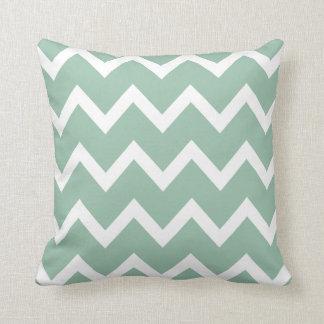 Zigzag Pillow with Grayed Jade Green Chevron