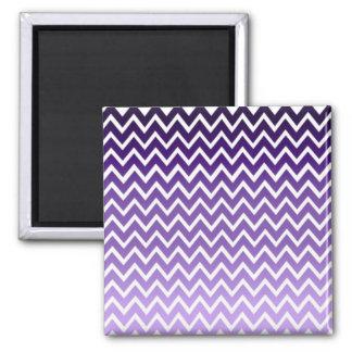 Zigzag Purple Chevron Pattern Square Magnet