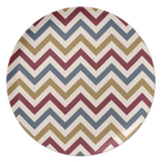 Zigzag Repeat Ptn Gold Red & Blue on Cream Party Plate