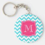 Zigzag Turquoise and Pink Custom Monogram Keychains