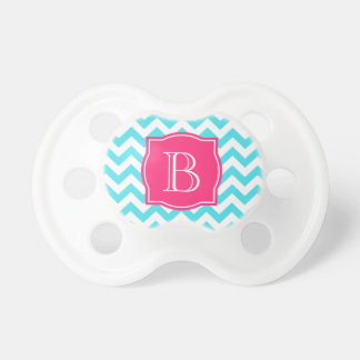 Zigzag Turquoise and Pink Custom Monogram Pacifier