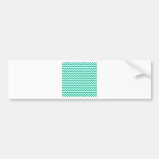 Zigzag Wide  - White and Caribbean Green Bumper Sticker