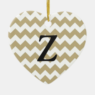 zigzag with Chevron of color khaki and target Ceramic Heart Ornament