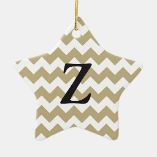 zigzag with Chevron of color khaki and target Ceramic Star Ornament