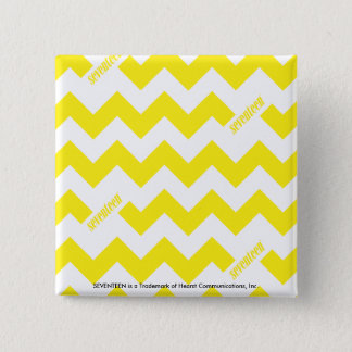 ZigZag Yellow 2 Inch Square Button