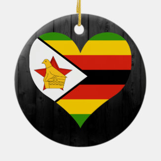 Zimbabwe flag colored ceramic ornament