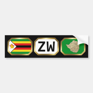 Zimbabwe Flag Map Code Bumper Sticker