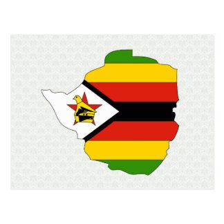 Zimbabwe Flag Map full size Postcard