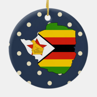 zimbabwe Flag Map on Polka Dots Ceramic Ornament