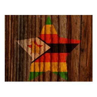 Zimbabwe Flag Star on Wood theme Postcard