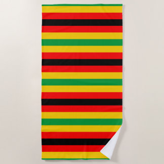 Zimbabwe flag stripes lines country colors beach towel
