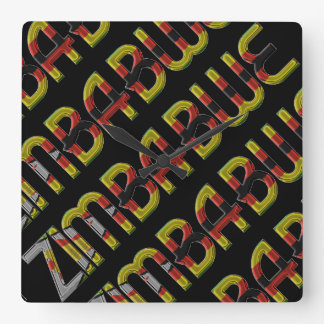 Zimbabwe Flag Typography Pattern African Country Square Wall Clock