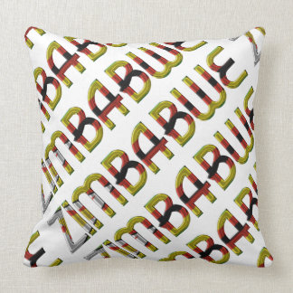 Zimbabwe Flag Typography Pattern African Country Throw Pillow