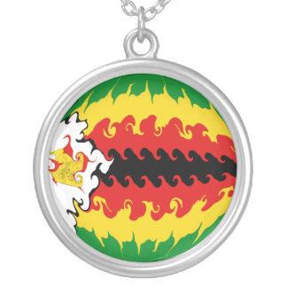 Zimbabwe Gnarly Flag Round Pendant Necklace