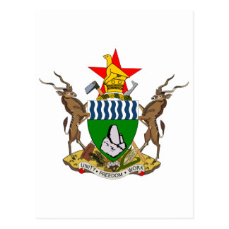 Zimbabwe Official Coat Of Arms Heraldry Symbol Postcard