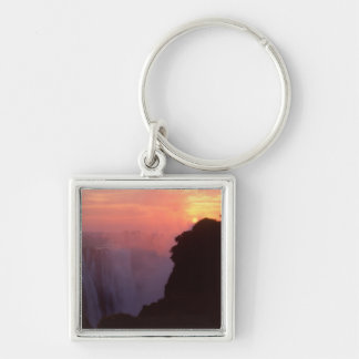 Zimbabwe, Victoria Falls National Park. Misty Silver-Colored Square Keychain