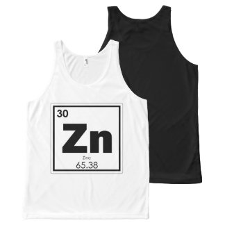Zinc chemical element symbol chemistry formula gee All-Over-Print tank top