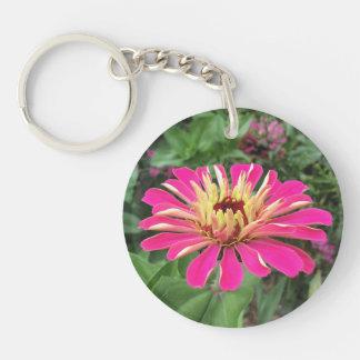 ZINNIA & DAHLIA - Vibrant Pink and Cream - Double-Sided Round Acrylic Keychain
