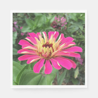 ZINNIA - Vibrant Pink and Cream - Paper Napkin