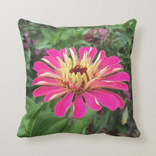 ZINNIA - Vibrant Pink and Cream - Throw Pillow