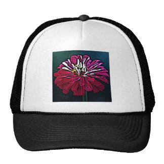 Zinnia Woodcut Trucker Hat