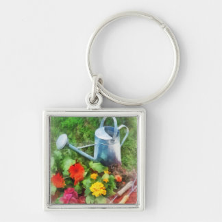 Zinnias and Watering Can Keychain