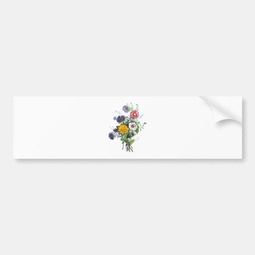Zinnias, Hollyhocks & Sunflower Bouquet by Prevost Bumper Sticker