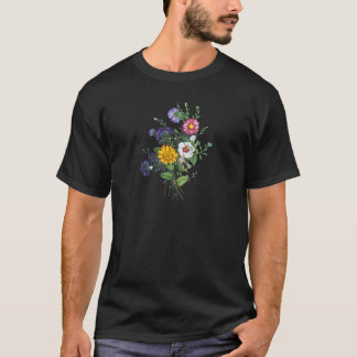 Zinnias, Hollyhocks & Sunflower Bouquet by Prevost T-Shirt