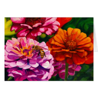 Zinnias with worker bee c card