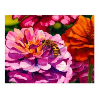 Zinnias with worker bee postcard
