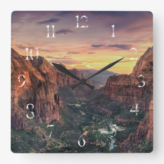 Zion Canyon National Park Square Wall Clock