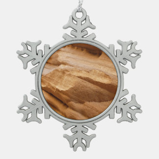 Zion Canyon Wall II Red Rock Abstract Photography Snowflake Pewter Christmas Ornament