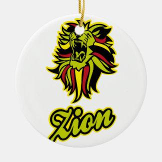 Zion. Iron Lion Zion HQ Edition Color Round Ceramic Ornament