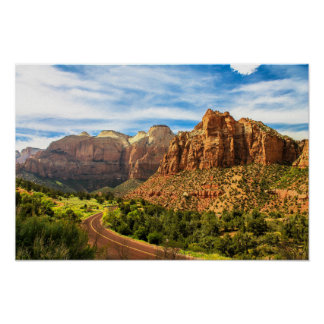 Zion Mountains Utah National Park Poster